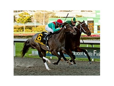 Daddy Nose Best (right) holds off Lucky Chappy to win the  El Camino Real Derby.