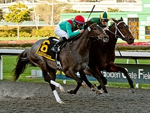 Daddy Nose Best wins the 2012 El Camino Real Derby.