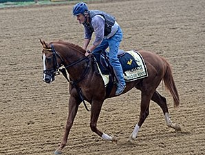 Pablo Del Monte jogs at Pimlico May 15.