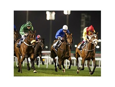 Ahzeemah powers home to win the Nad al Sheba Trophy.