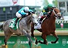 "Authenticity (right) fights off On Fire Baby to win the La Troienne Stakes.<br><a target=""blank"" href=""http://photos.bloodhorse.com/AtTheRaces-1/at-the-races-2013/27257665_QgCqdh#!i=2491347932&k=fvkpHMB"">Order This Photo</a>"