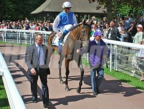 Goldikova with Olivier Peslier prior to the Prix Jacques Le Marois