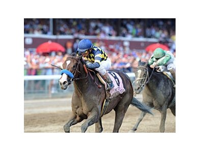 "Contested pulls away late to win the Test Stakes.<br><a target=""blank"" href=""http://photos.bloodhorse.com/AtTheRaces-1/at-the-races-2012/22274956_jFd5jM#!i=2046975928&k=sk66VX7"">Order This Photo</a>"