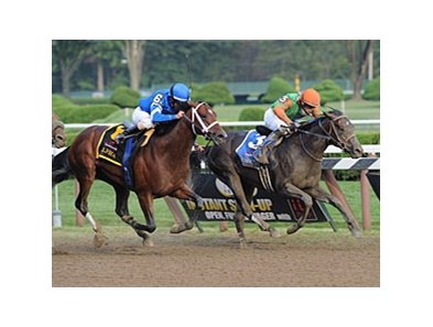 "Travers Stakes dead-heat winner Golden Ticket (right) is among those entered in the Hollywood Derby.<br><a target=""blank"" href=""http://photos.bloodhorse.com/AtTheRaces-1/at-the-races-2012/22274956_jFd5jM#!i=2046946748&k=fp9cXCW"">Order This Photo</a>"