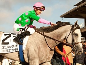 Discreet Marq wins the 2013 Del Mar Oaks.