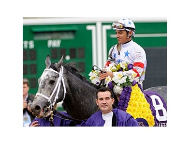 "The 2007 Breeders' Cup Mile winner Kip Deville worked out Jan. 9 at Gulfstream Park.<br><a target=""blank"" href=""http://www.bloodhorse.com/horse-racing/photo-store?ref=http%3A%2F%2Fpictopia.com%2Fperl%2Fgal%3Fprovider_id%3D368%26ptp_photo_id%3D2631628%26ref%3Dstory"">Order This Photo</a>"