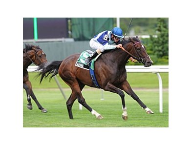 "Aruna is in command in the Sheepshead Bay Stakes at Belmont Park.<br><a target=""blank"" href=""http://photos.bloodhorse.com/AtTheRaces-1/at-the-races-2012/22274956_jFd5jM#!i=1869209457&k=WGNBt6S"">Order This Photo</a>"