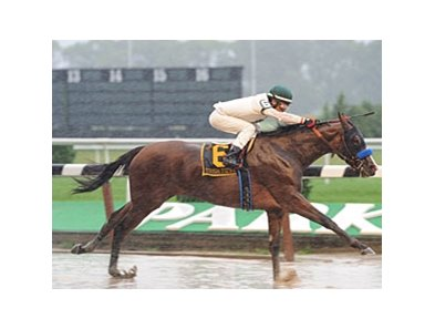 "Tough Tiz's Sis romps in the rain in the Ruffian.<br><a target=""blank"" href=""http://www.bloodhorse.com/horse-racing/photo-store?ref=http%3A%2F%2Fpictopia.com%2Fperl%2Fgal%3Fprovider_id%3D368%26ptp_photo_id%3D5812274%26ref%3Dstory"">Order This Photo</a>"