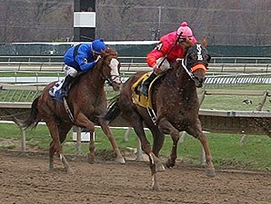 Ruler On Ice finishing fourth to Easter Gift in an Allowance Race.