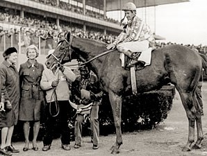 Secretariat in the Winner's Circle after the 1973 Bay Shore.