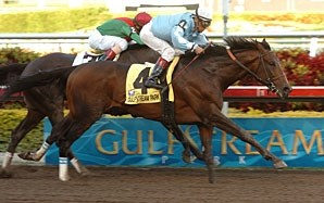 Sir Whimsey outfinishes Fairbanks to take the Gulfstream Park Handicap.