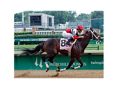 Dubai Majesty sprinted home to defend her title in the Winning Colors Stakes at Churchill Downs.