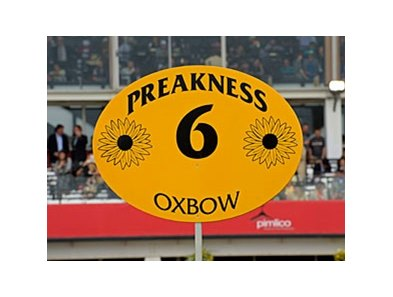 The Preakness Stakes post position sign for winner Oxbow.