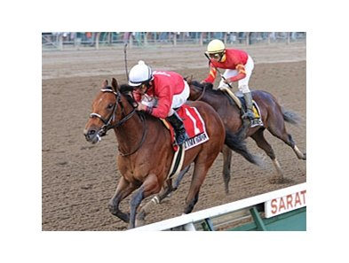 "Run Away and Hide pulls away from Break Water Edison to take the Saratoga Special.<br><a target=""blank"" href=""http://www.bloodhorse.com/horse-racing/photo-store?ref=http%3A%2F%2Fpictopia.com%2Fperl%2Fgal%3Fprovider_id%3D368%26ptp_photo_id%3D5527515%26ref%3Dstory"">Order This Photo</a>"