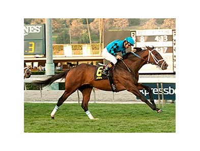 Finnegans Wake streaks home to win the San Gabriel Stakes at Santa Anita.