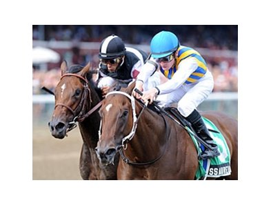 "My Miss Aurelia (right) outfights Millionreasonswhy to win the Adirondack Stakes.<br><a target=""blank"" href=""http://www.bloodhorse.com/horse-racing/photo-store?ref=http%3A%2F%2Fpictopia.com%2Fperl%2Fgal%3Fprovider_id%3D368%26ptp_photo_id%3D9634286%26ref%3Dstory"">Order This Photo</a>"