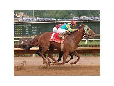 Soul Warrior overtakes Big Drama to win the West Virginia Derby.