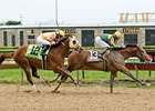 Done Talking pulls away late to win the Illinois Derby.