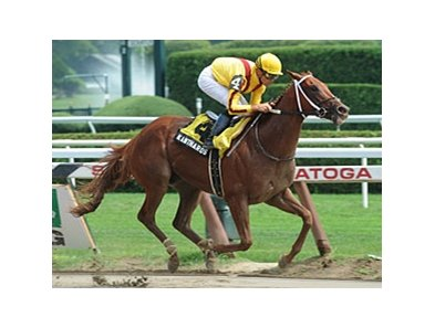 "Kantharos remained undefeated after the 2-year-old blew away three others in the Saratoga Special Stakes. <br><a target=""blank"" href=""http://www.bloodhorse.com/horse-racing/photo-store?ref=http%3A%2F%2Fpictopia.com%2Fperl%2Fgal%3Fprovider_id%3D368%26ptp_photo_id%3D9147868%26ref%3Dstory"">Order This Photo</a>"