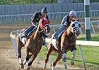 Dean's Kitten (right) and Age of Humor worked together at Trackside Louisville training center on April 17.