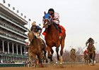 Afleeting Lady pulls away from her rivals to win the Falls City Handicap.