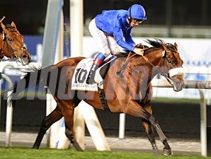 Opinion Poll wins the Dubai Gold Cup.