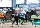 Frivolous holds off Don't Tell Sophia to win the Falls City Handicap.