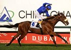 Frankie Dettori celebrates the Dubai Sheema Classic victory with Rewilding.