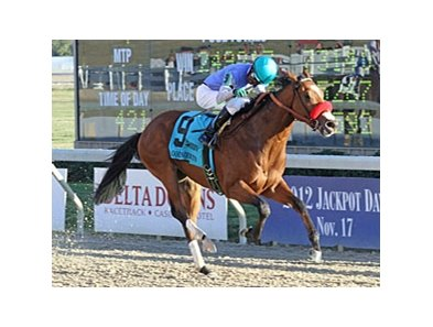 Goldencents winning the 2012 Delta Downs Jackpot Stakes.