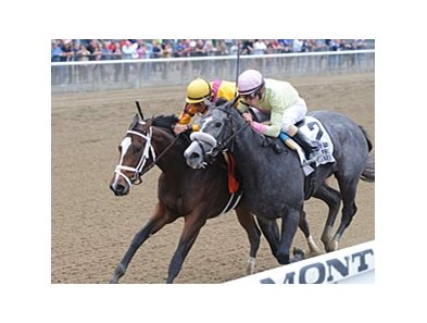 "Dreaming of Julia (left) gets by My Happy Face to win the Frizette Stakes. <br><a target=""blank"" href=""http://photos.bloodhorse.com/AtTheRaces-1/at-the-races-2012/22274956_jFd5jM#!i=2132638260&k=dGp45wm"">Order This Photo</a>"