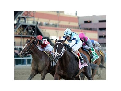 Normandy Invasion and Javier Castellano (left) finished 2nd in the Wood Memorial.