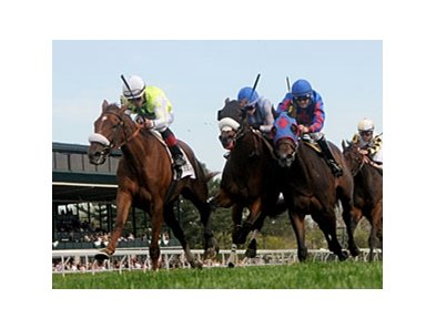 "Unbelievable (left) gets up late to win the Appalachian Stakes.<br><a target=""blank"" href=""http://photos.bloodhorse.com/AtTheRaces-1/at-the-races-2013/27257665_QgCqdh#!i=2464518886&k=XwXK9wj"">Order This Photo</a>"