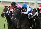 War Dancer (center) fights for the win in the Virginia Derby.