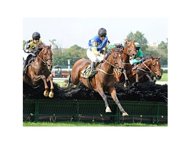 "Pierrot Lunaire takes the Lonesome Glory steeplechase at Belmont Park.<br><a target=""blank"" href=""http://photos.bloodhorse.com/AtTheRaces-1/at-the-races-2012/22274956_jFd5jM#!i=2113932993&k=GsmGdWr"">Order This Photo</a>"