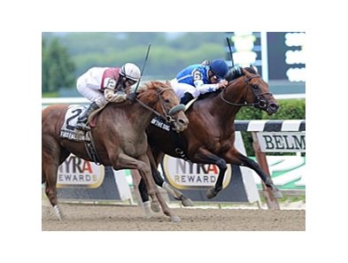 "Teeth of the Dog and Fast Falcon finished 1-2 in the Dwyer Stakes.<br><a target=""blank"" href=""http://photos.bloodhorse.com/AtTheRaces-1/at-the-races-2012/22274956_jFd5jM#!i=1937198734&k=6HTDsKT"">Order This Photo</a>"