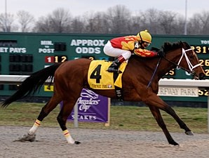 Maren's Meadow runs away with the Bourbonette Oaks Stakes at Turfway Park.