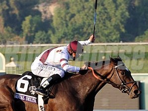 Royal Delta wins the 2012 Breeders' Cup Ladies' Classic.