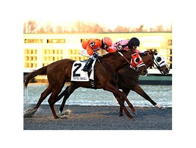 Inhisglory (inside) just holds off Banjammer to win the Turfway Prevue.