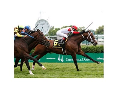 Dark Cove won the Louisville Handicap by a half-length on May 25.