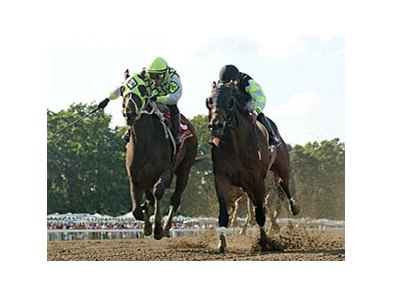 Raging Daoust (left) gets up over Big Sur to upset the Salvator Mile.