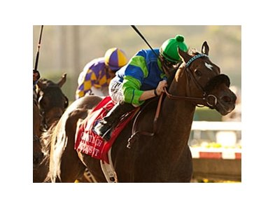 Include Me Out won the Clement L. Hirsch Stakes by a neck on Aug. 4.