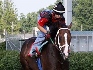 Flat Out works at Churchill Downs on June 28, 2011.
