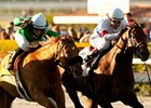 "Fluke (right) outfinishes Caracortado to win the Frank E. Kilroe Mile.<br><a target=""blank"" href=""http://www.bloodhorse.com/horse-racing/photo-store?ref=http%3A%2F%2Fpictopia.com%2Fperl%2Fgal%3Fprovider_id%3D368%26ptp_photo_id%3D9432813%26ref%3Dstory"">Order This Photo</a>"