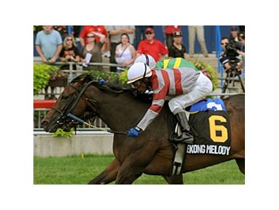 Mekong Melody held off closing favorite Ave by a nose to win the Dance Smartly Stakes at Woodbine.