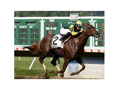 Hystericalady, shown winning the 2007 Molly Pitcher, tries for a repeat on Aug. 24.