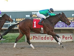 Turbo Speed #1 with David Cora riding wins the $75,000 Pennsylvania Nursery Stakes at Philadelphia Park.