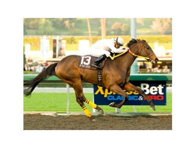 "M One Rifle, a 7-1 shot, went all the way on the front end to post an easy win in the Malibu Stakes.<br><a target=""blank"" href=""http://www.bloodhorse.com/horse-racing/photo-store?ref=http%3A%2F%2Fpictopia.com%2Fperl%2Fgal%3Fprovider_id%3D368%26ptp_photo_id%3D8719309%26ref%3Dstory"">Order This Photo</a>"