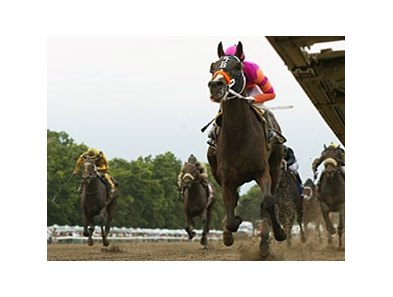 Atomic Rain cruises in the Long Branch Stakes at Monmouth.