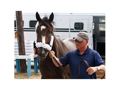 Rachel Alexandra arrives at Monmouth Park on Tuesday morning, July 20, with Assistant Trainer Scott Blasi.