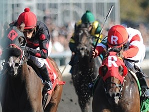 Holiday for Kitten (right) wins the 2011 Thoroughbred Club of America.